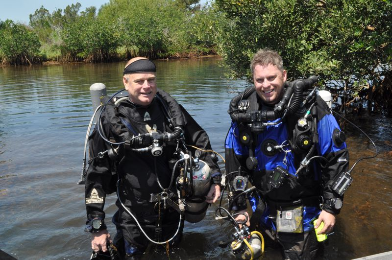 Dr. Garey and       student after a dive